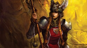 fantasy woman warrior with spear wallpaper