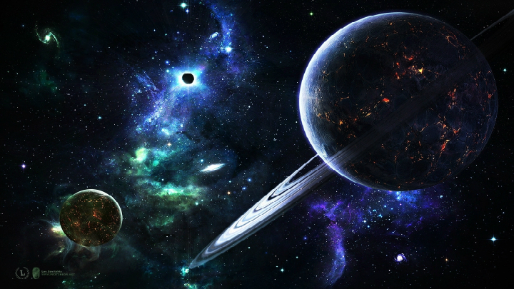 space wallpaper blue planets