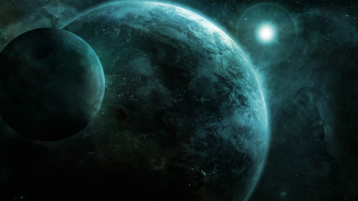 Science fiction wallpaper, blue planets and blue star field